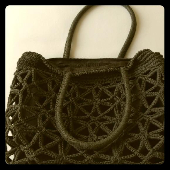 Black crochet bag